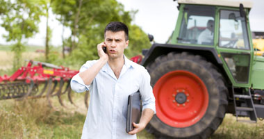 Farmer talking on the phone